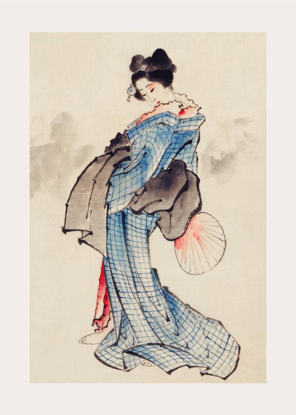 Billede af Japanese woman in kimono - Japansk kunstplakat