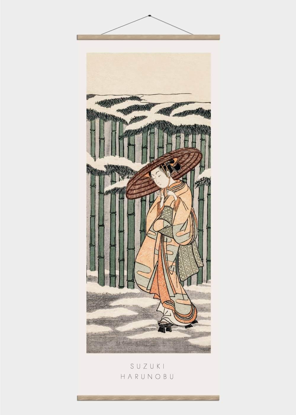 Billede af Passing the bamboo - Japansk kunst plakat