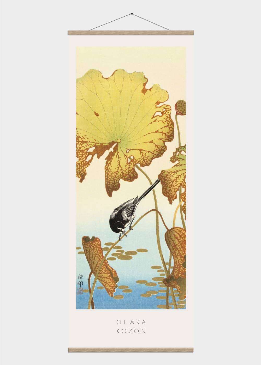 Billede af Japanese wagtail on lotus plant - Japansk kunst plakat