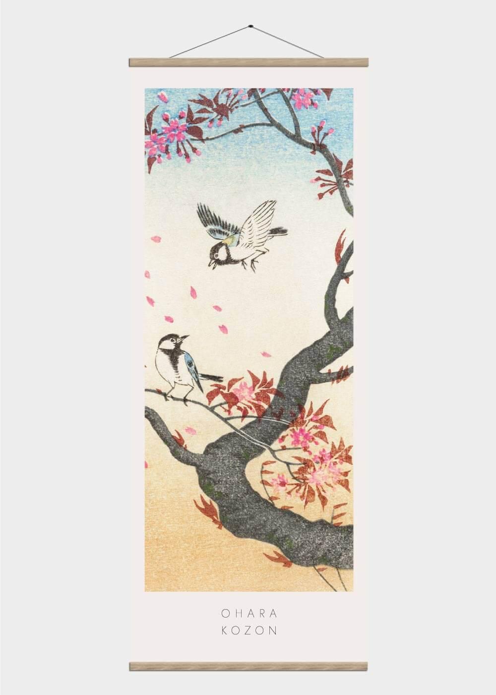 Two birds at a blossoming tree - Japansk kunst plakat