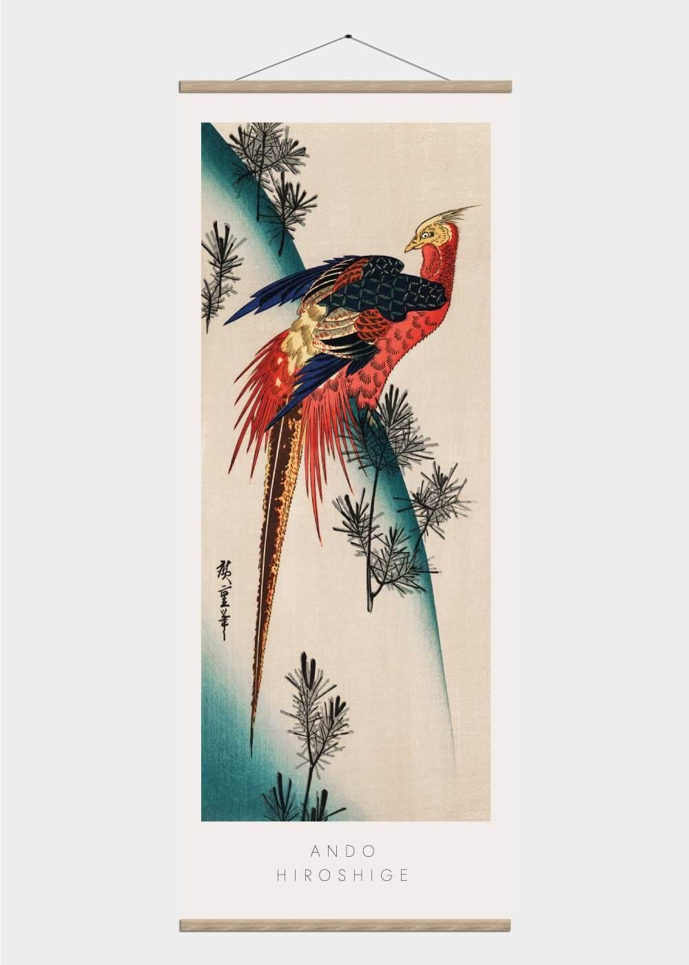 Billede af Majestically pheasant - Japansk kunst plakat