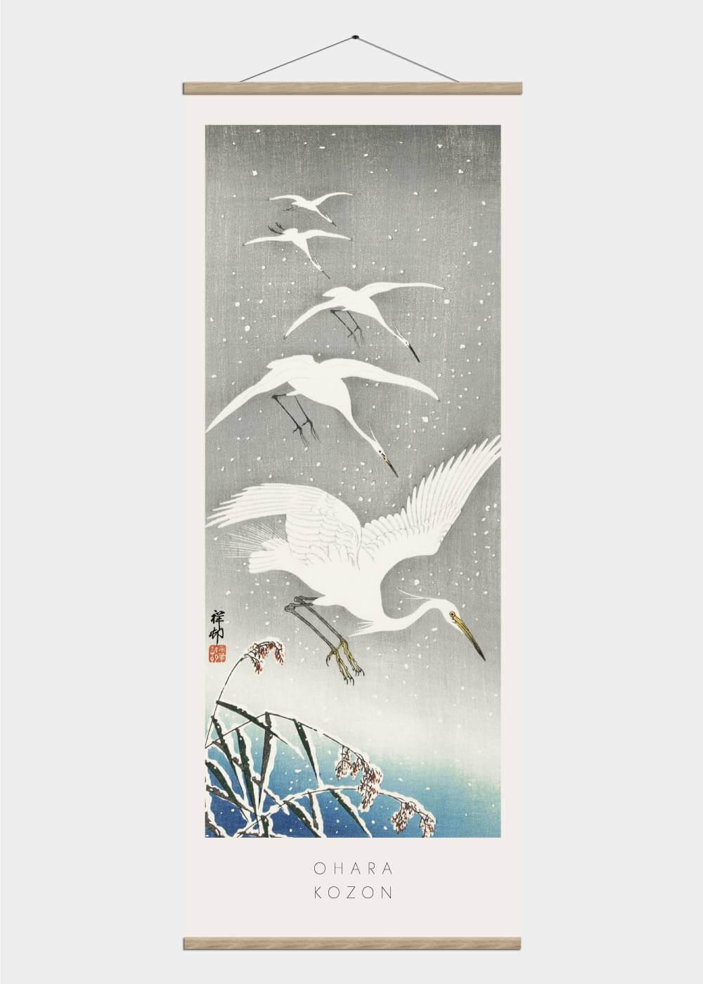Billede af Egrets in the snow - Japansk kunst plakat