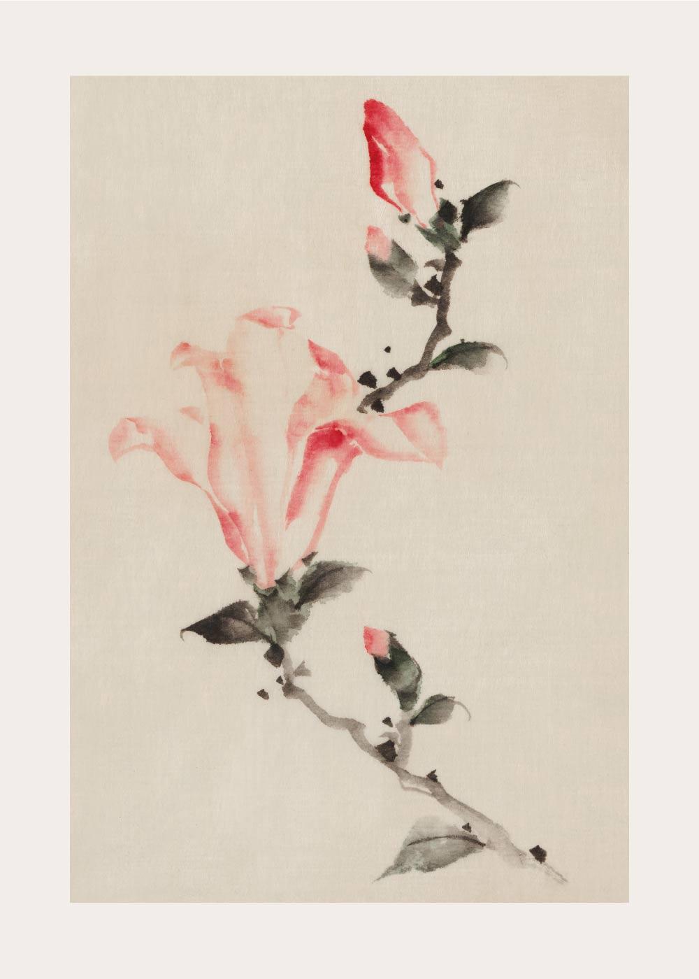 Billede af Pink blossoms - Japansk kunstplakat