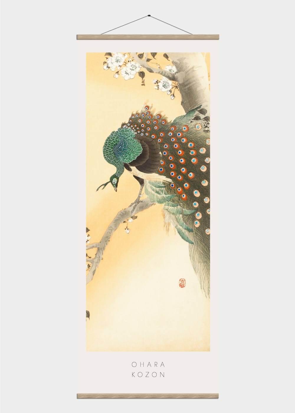 Billede af Peacock on a cherry blossom - Japansk kunst plakat