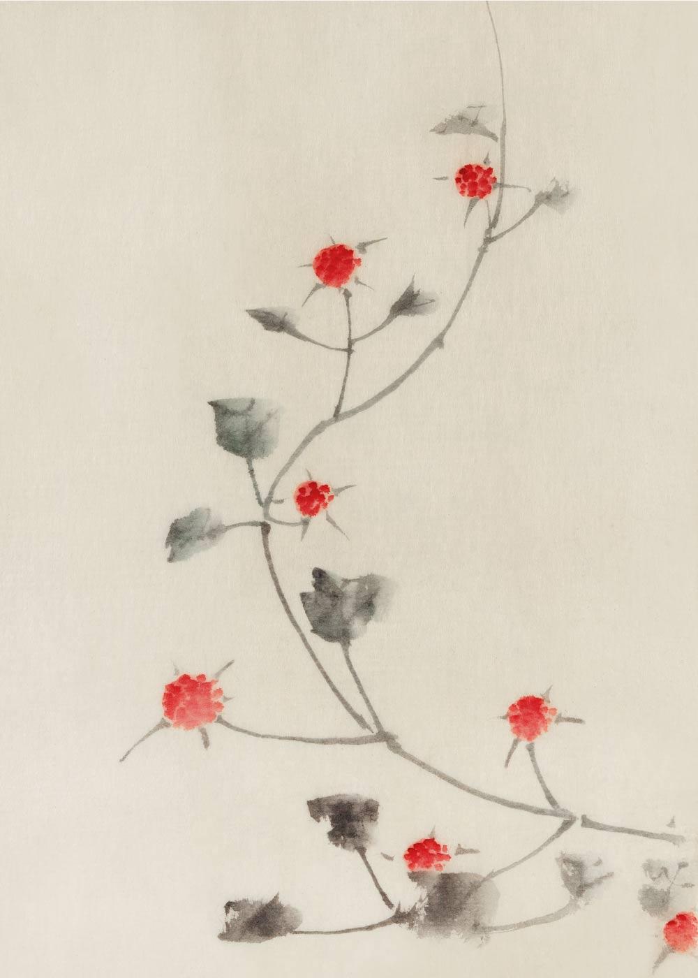 Small red blossoms - Japansk kunstplakat