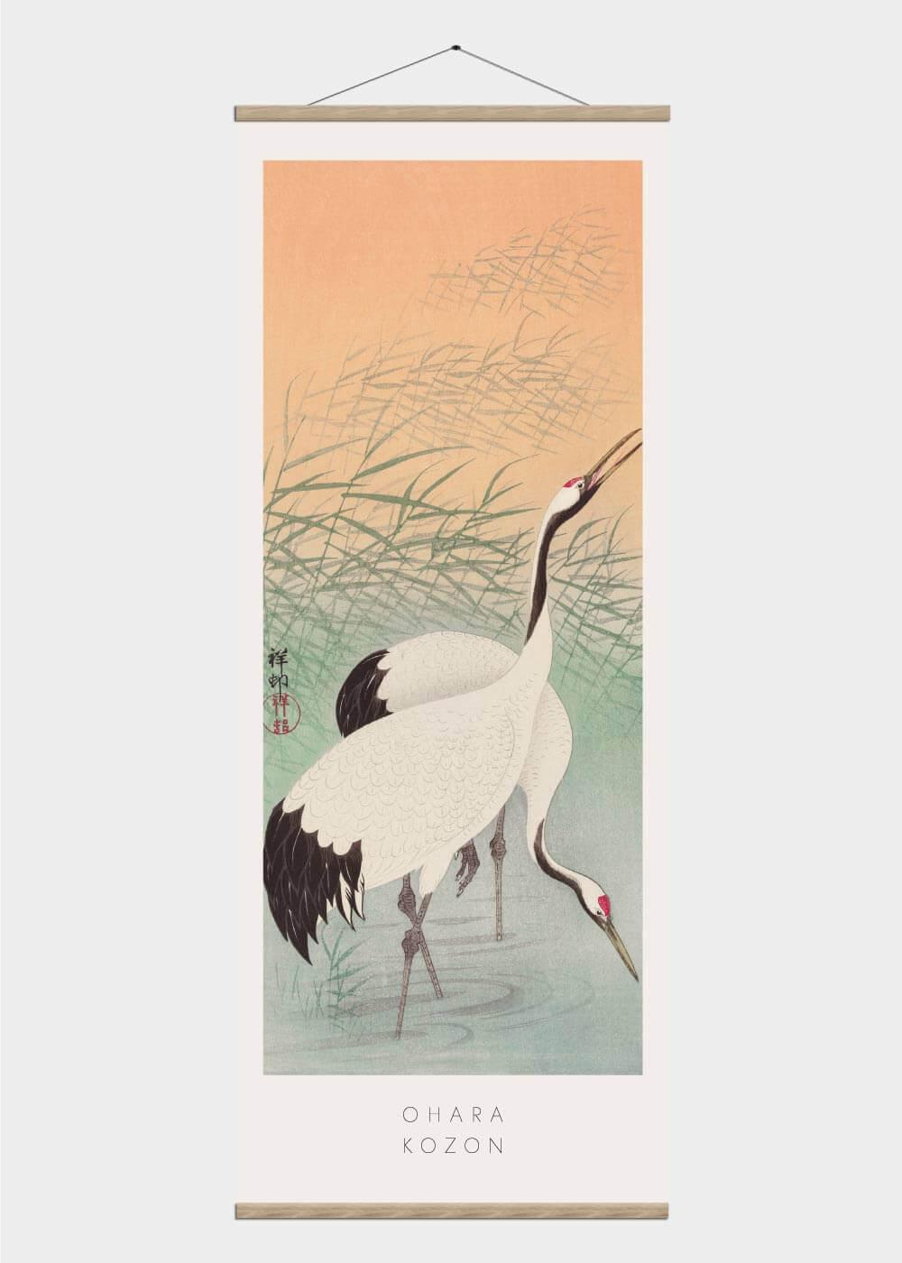 Billede af Two cranes - Japansk kunst plakat