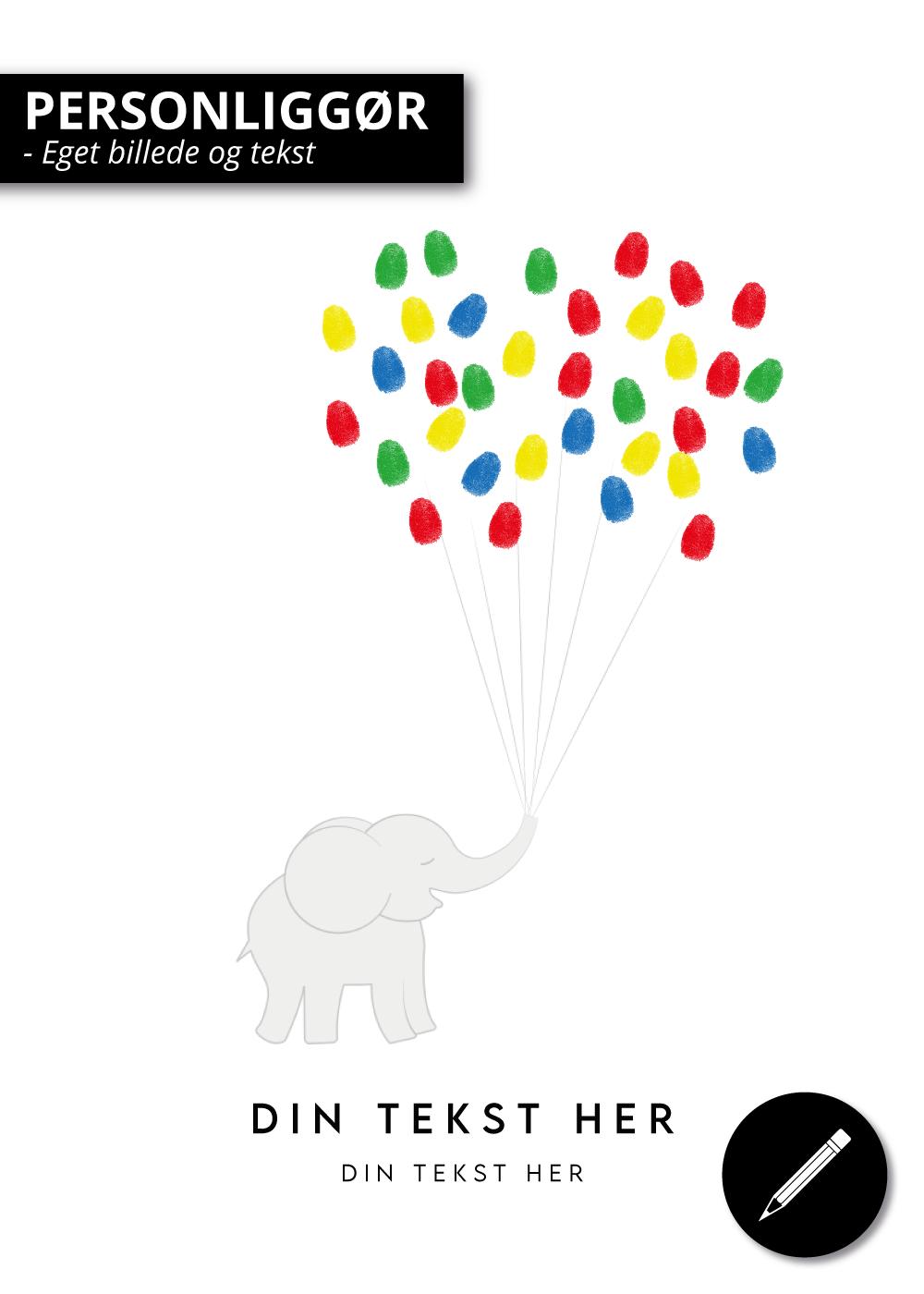 Billede af Elefant med balloner - Plakat til dåb - Fingeraftryk plakat